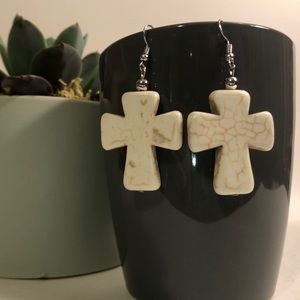 Ivory semiprecious stone cross earrings